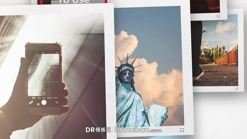 DR幻灯片模板 社交媒体方形照片展示达芬奇电子相册模板下载