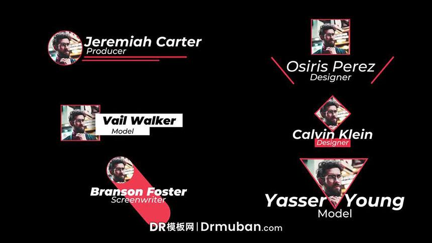 DR字幕条模板 6个创意头像人物介绍动态字幕达芬奇视频模板-DR模板网