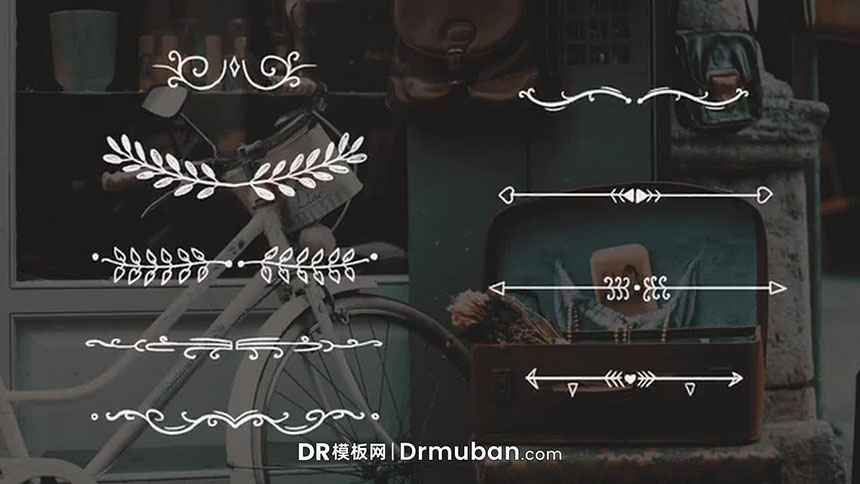 达芬奇模板 优雅复古手绘边框线条素材婚礼视频DR模板下载