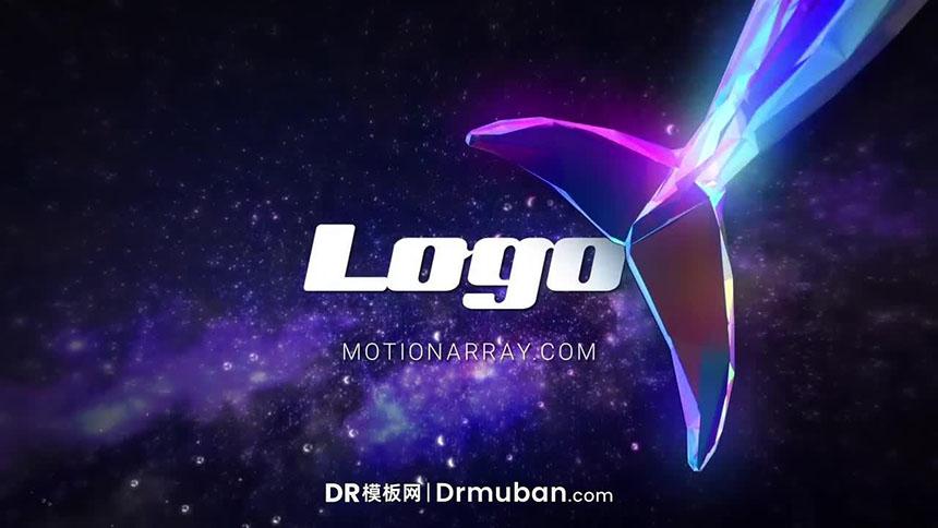 开场片头达芬奇模板 动态3D水晶鲸鱼星空效果logo展示DR模板下载-DR模板网