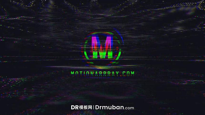 达芬奇logo展示模板 抽象毛刺效果动态开场视频DR模板下载