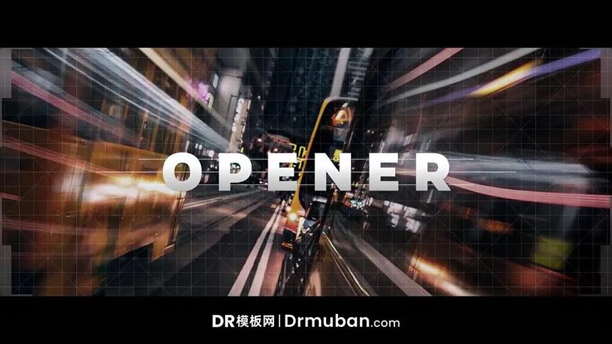 开场片头DR模板 创意网格线条动态logo展示达芬奇模板下载
