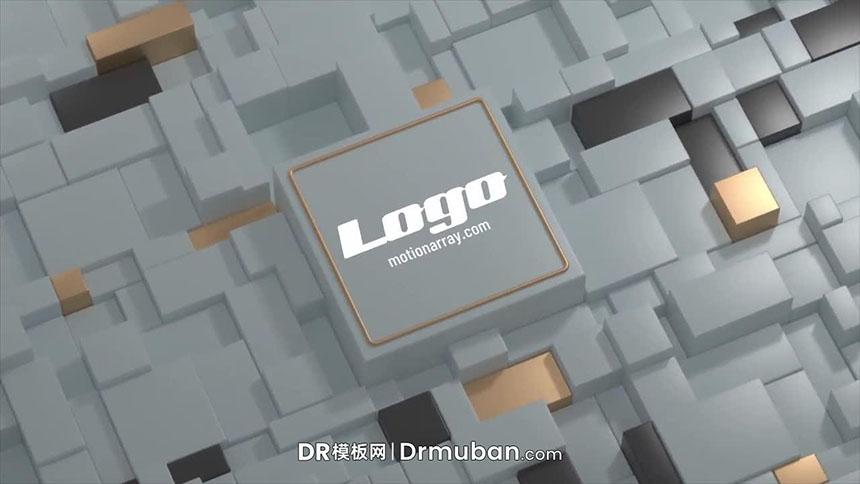 达芬奇模板 3D立体支柱动态logo展示DR视频模板免费下载