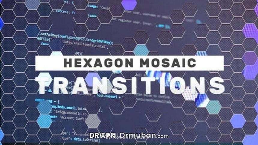 达芬奇转场过渡模板 六边形镶嵌效果视频转场过渡DR模板下载