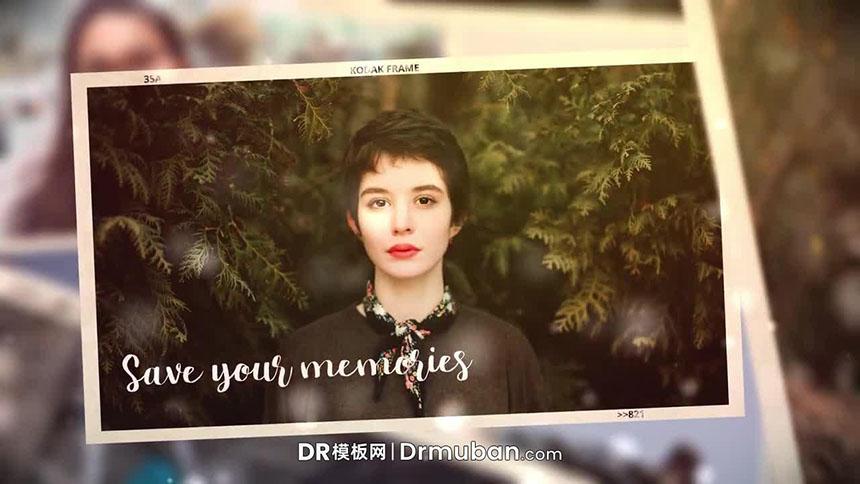 DR电子相册模板 复古家庭照片展示达芬奇视频模板下载