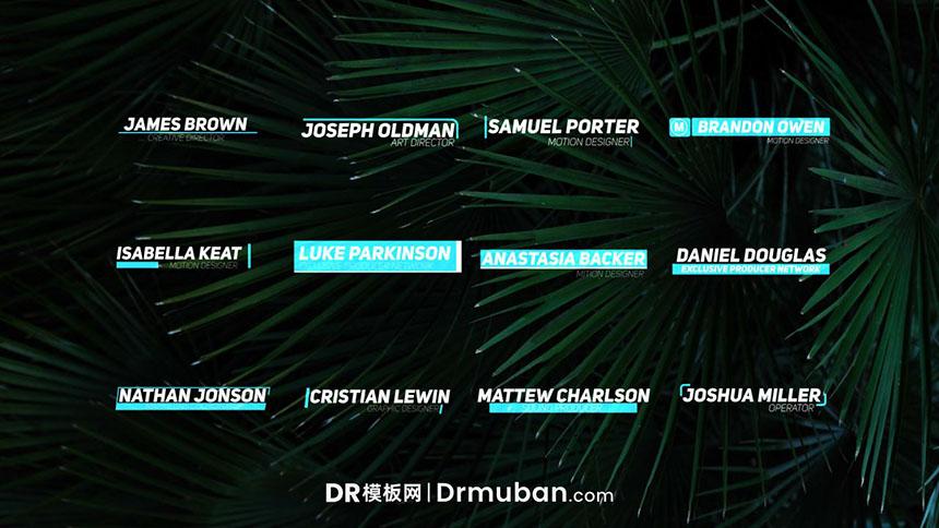 DR文字模板 12个时尚清新动态标题字幕达芬奇模板-DR模板网