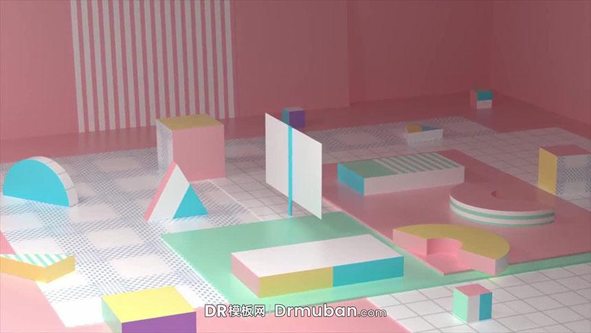 达芬奇logo展示模板 治愈色系动态几何体开场片头dr模板下载