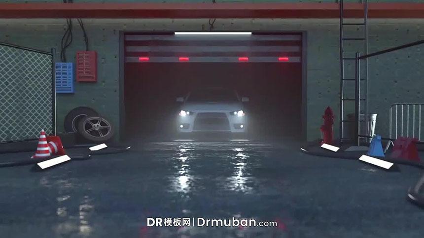 DR免费模板 车库汽车开出动态logo展示达芬奇视频模板下载