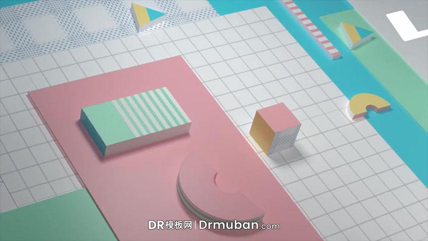 DR模板 现代立体几何少儿手工节目logo展示达芬奇模板下载
