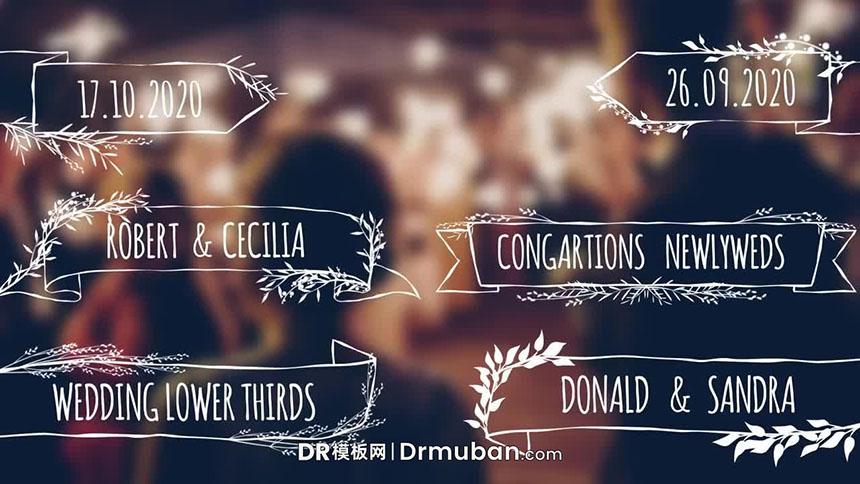 """达芬奇模板 """"开枝散叶""""树叶枝条生长动画婚礼视频标题DR模板"""