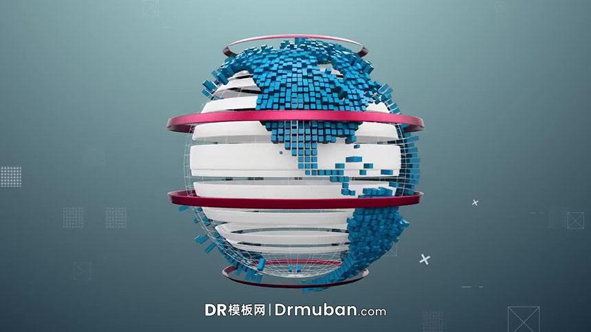 达芬奇模板 3D立体地球动态logo展示新闻节目开场DR模板