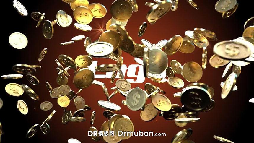 达芬奇模板 金币爆炸掉落特效LOGO展示DR片头模板
