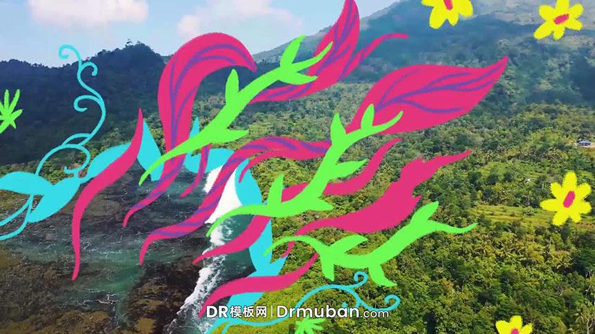 达芬奇转场模板 手绘热带花叶转场过渡视频模板免费下载