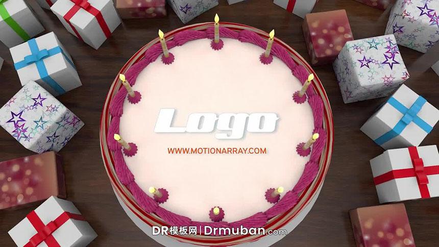 达芬奇片头模板 生日祝福生日蛋糕LOGO展示DR片头模板