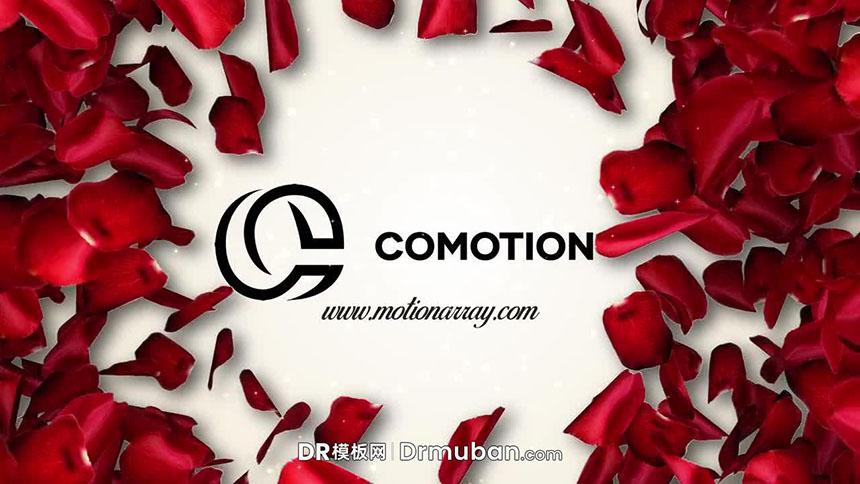 达芬奇片头模板 浪漫玫瑰花瓣散开LOGO展示DR模板