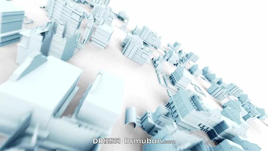 达芬奇片头模板 3D城市生长动画LOGO展示DR模板下载