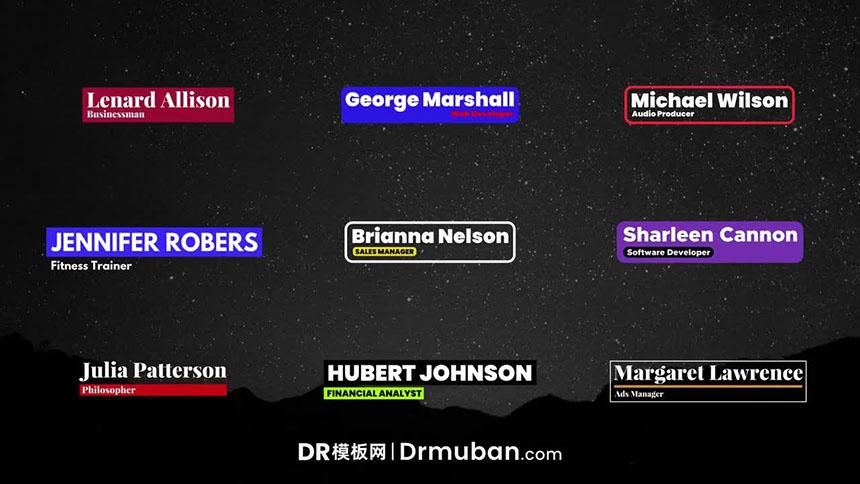 达芬奇字幕模板 人物人名介绍创意彩色动态字幕条DR模板