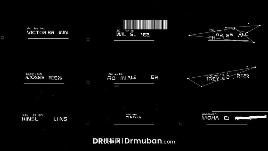 达芬奇文字模板 快速故障效果动态标题字幕DR模板