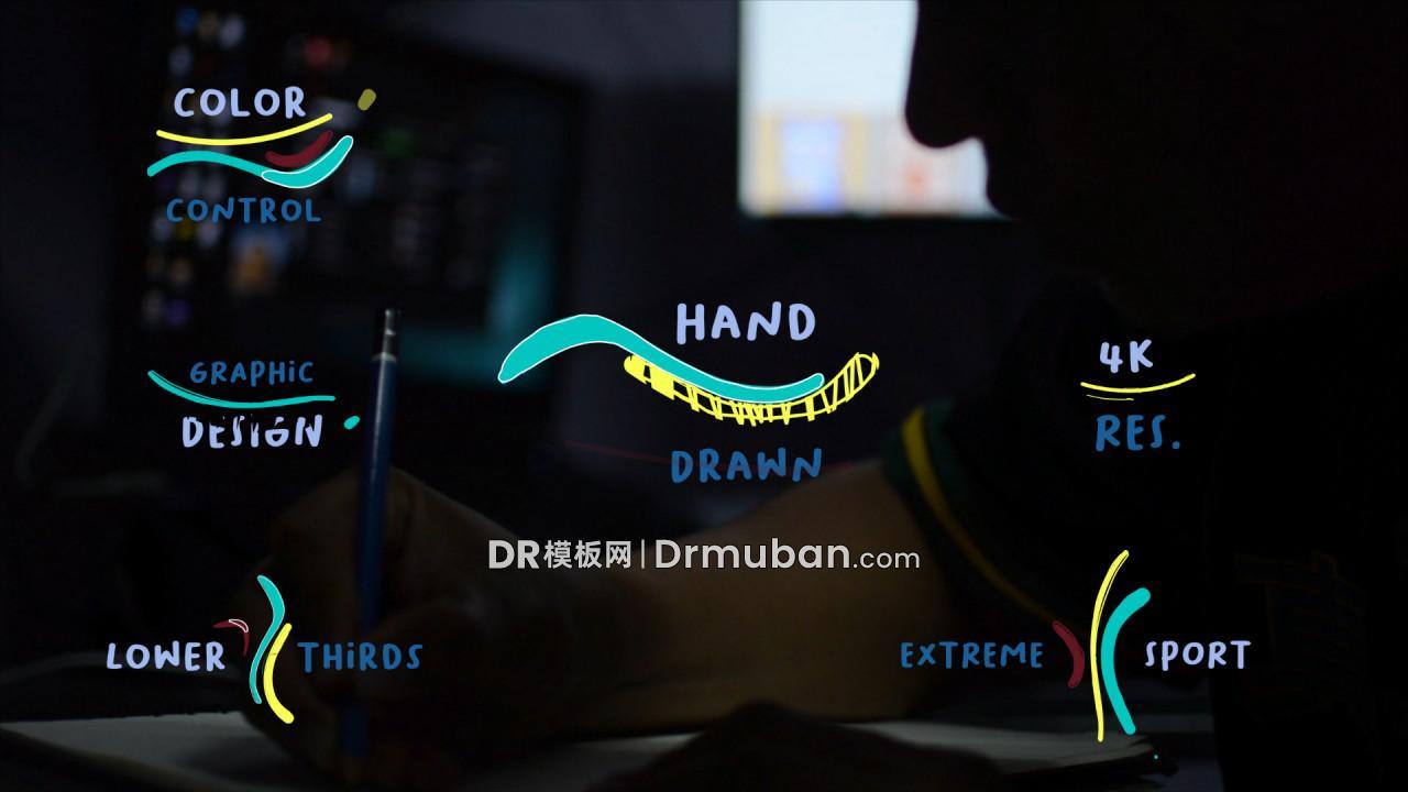 达芬奇模板 6个手绘卡通动态短视频标题DR模板下载-DR模板网