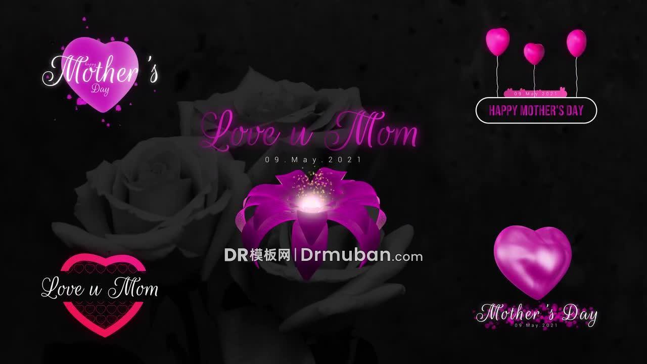 达芬奇模板 5个紫色母亲节温馨动态标题DR模板下载-DR模板网