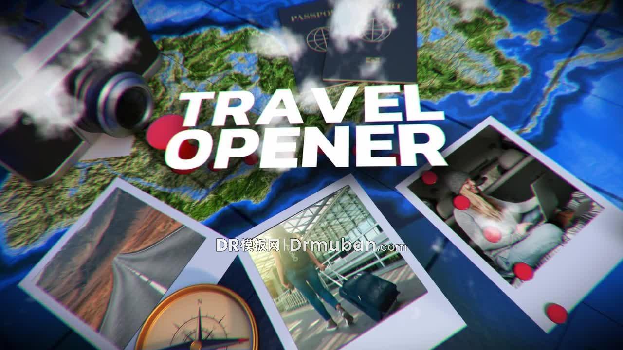 达芬奇模板 旅行博主动态照片地图开场视频模板