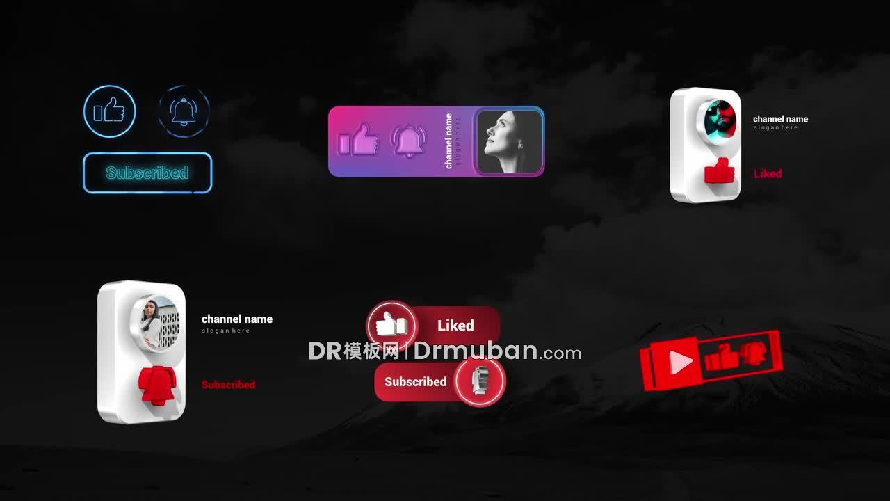 达芬奇模板 6个Youtube订阅点赞元素DR模板下载-DR模板网