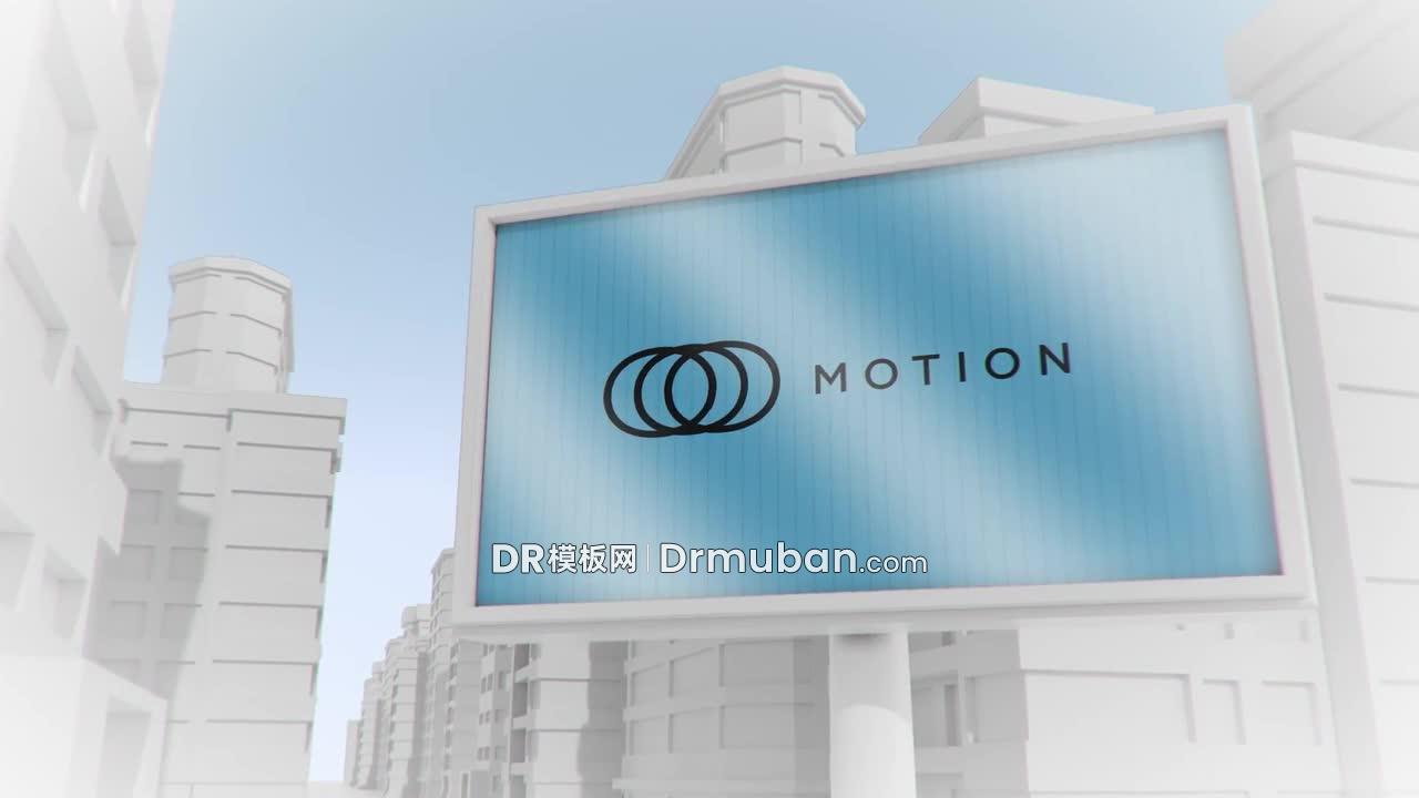 达芬奇模板 简约3D城市广告牌样机动态标志展示DR模板
