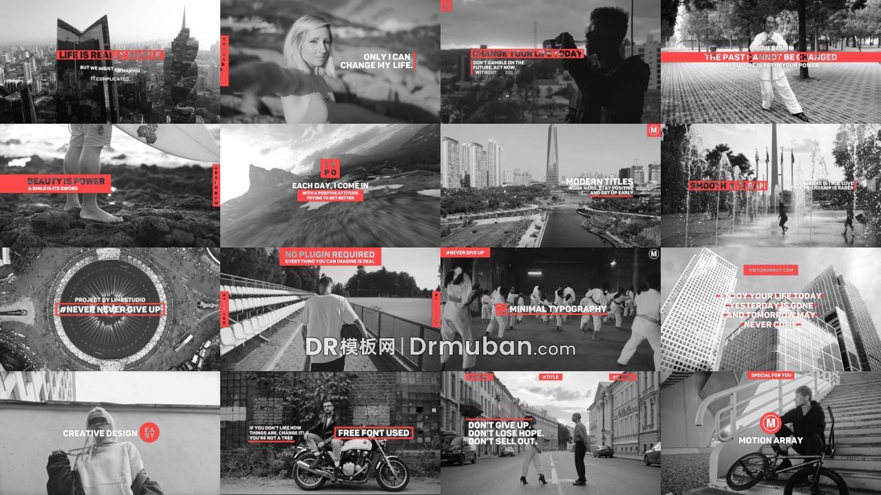 达芬奇模板 9个红色独特创意全屏标题动画DR模板下载