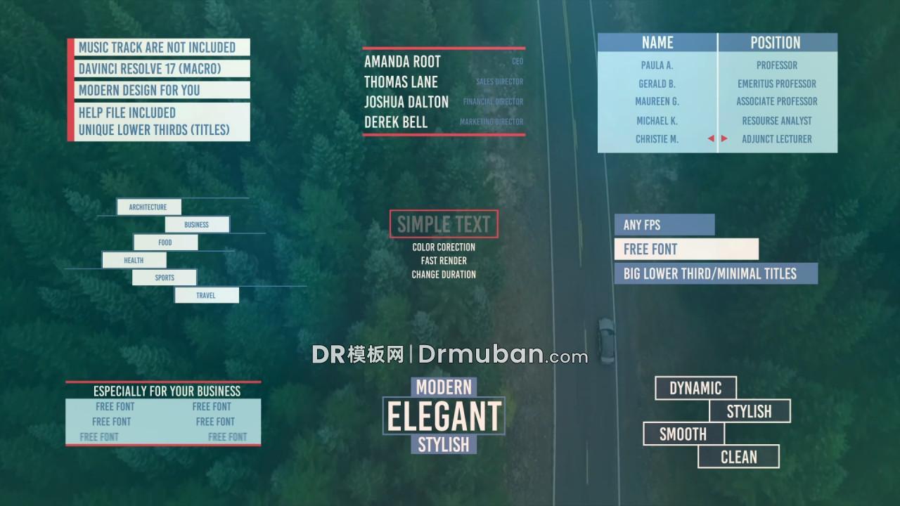 达芬奇标题模板 9个短视频介绍备注大字幕条DR模板下载