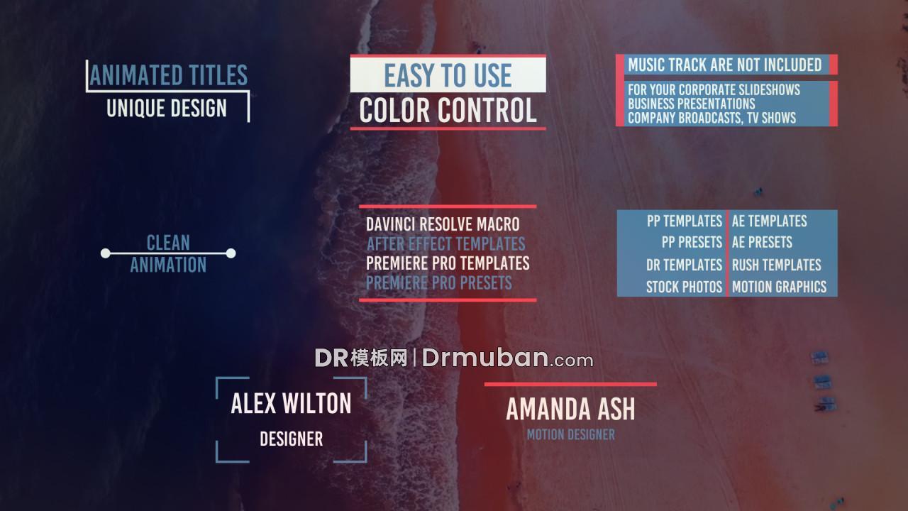 达芬奇标题模板 快时尚红蓝创意标题动画DR模板下载