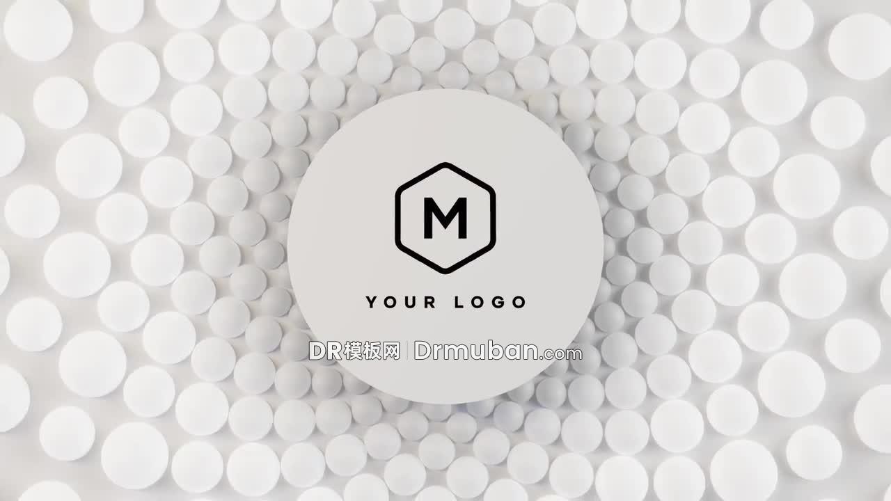 达芬奇模板 超简约纯白片头动态标志logo展示DR模板下载