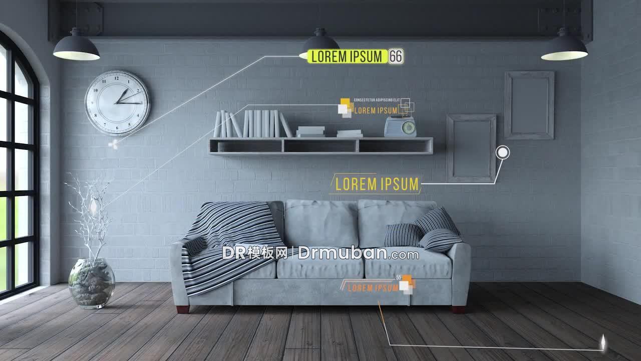 达芬奇模板 创意家居宣传短视频动态线条呼出标题DR模板下载