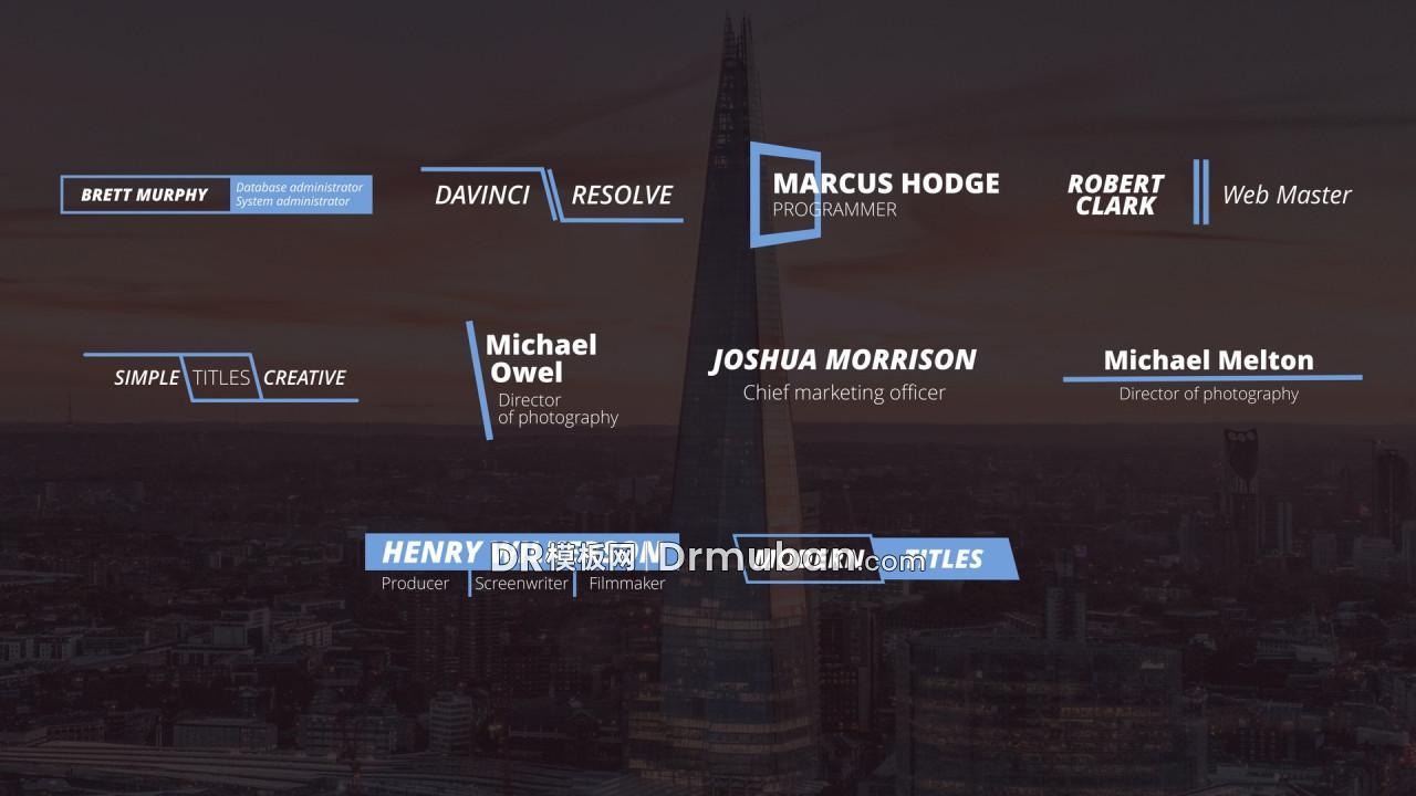达芬奇预设 10个创意蓝色动态线条全屏标题DR预设-DR模板网